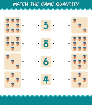 Match the same quantity of boys. counting game. educational game for pre shool years kids and toddlers