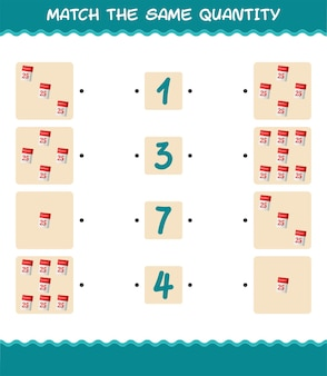 Match the same quantity of calendar. counting game. educational game for pre shool years kids and toddlers