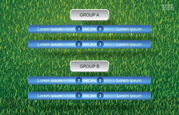 Match schedule background of soccer football cup with green grass background.