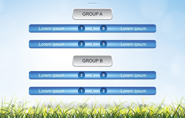 Match schedule background of soccer football cup with green grass field area background.