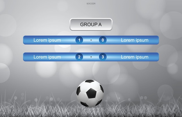 Match schedule background of soccer football cup with light blurred bokeh background.
