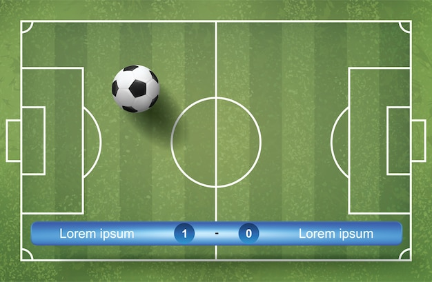 Match scoreboard schedule background with soccer ball and green grass background.
