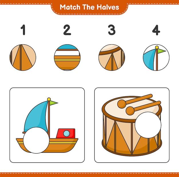 반쪽 일치 보트 및 드럼 교육용 어린이 게임 인쇄용 워크 시트의 반쪽 일치
