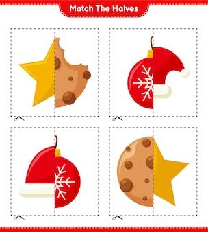 Совместите половинки. совместите половинки рождественского украшения. развивающая детская игра, лист для печати, иллюстрация