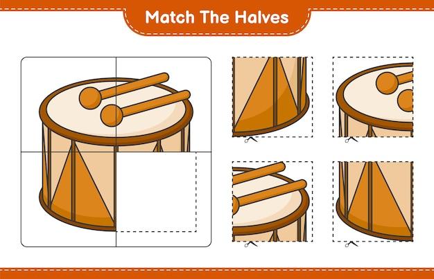 반쪽 일치 드럼 교육 어린이 게임 인쇄용 워크 시트의 반쪽 일치