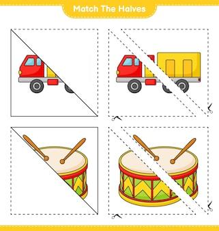 Сопоставьте половинки сопоставьте половинки грузовика и барабана образовательная игра для детей лист для печати