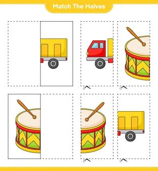 半分に一致するローリーとドラムの半分に一致する教育用子供向けゲームの印刷可能なワークシート