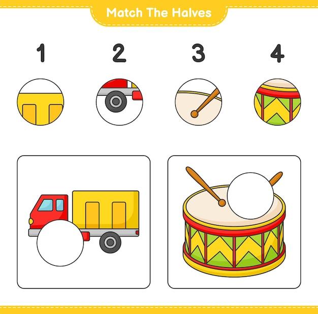 半分を一致させるローリーとドラムの半分を一致させる教育的な子供向けゲーム