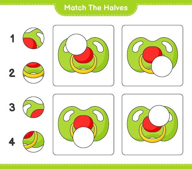 반쪽 일치 젖꼭지 교육용 어린이 게임 인쇄용 워크 시트의 반쪽 일치