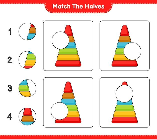 반쪽 일치 피라미드 장난감의 반쪽 일치 교육용 어린이 게임 인쇄용 워크시트