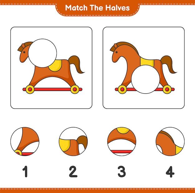 Сопоставьте половинки сопоставьте половинки обучающей детской игры «лошадь-качалка» лист для печати