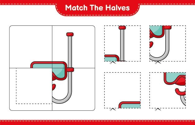 반을 맞춥니다. 스쿠버 다이빙 마스크의 절반을 일치시킵니다. 교육용 어린이 게임, 인쇄 가능한 워크시트