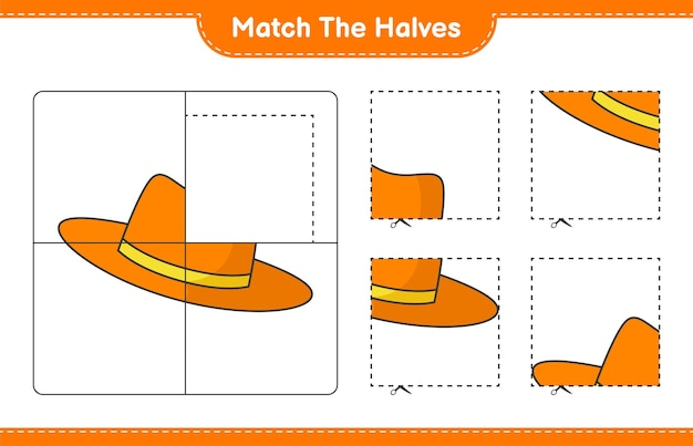 Сопоставьте половинки. спичечные половинки летней шапки. развивающая детская игра, лист для печати