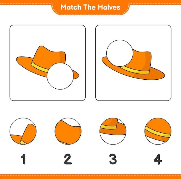 Совместите половинки. совместите половинки летней шляпы. развивающая детская игра, лист для печати