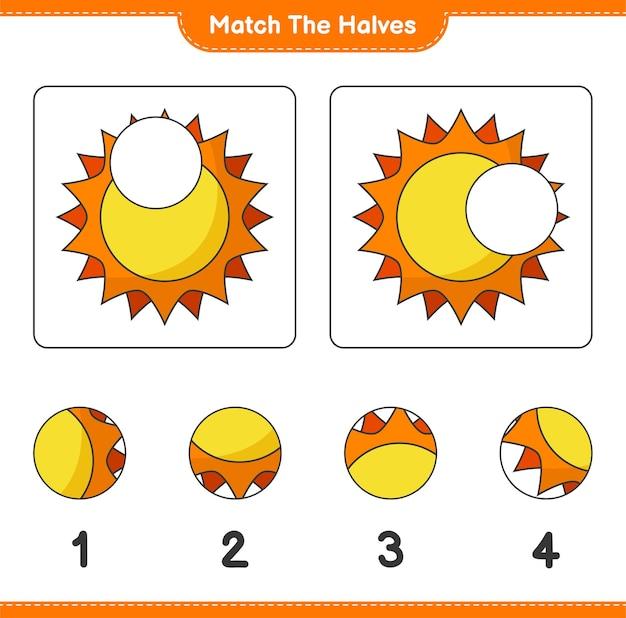 반쪽을 일치시킵니다. sun의 절반을 일치시킵니다. 교육용 어린이 게임, 인쇄 가능한 워크시트