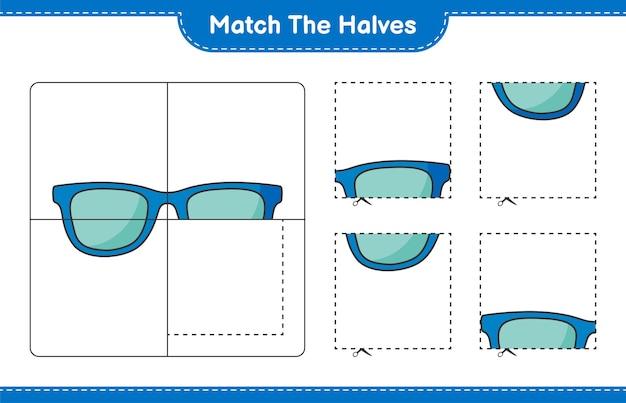 Сопоставьте половинки. сопоставьте половинки солнцезащитных очков. развивающая детская игра, лист для печати