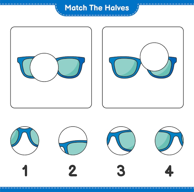 Совместите половинки. совместите половинки солнцезащитных очков. развивающая детская игра, лист для печати