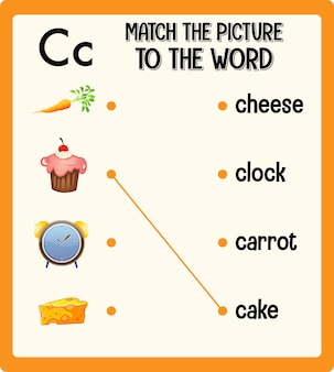 写真を子供用の単語ワークシートに一致させます
