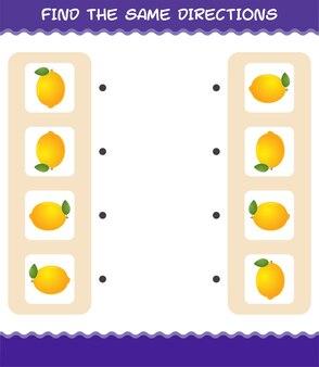 Соедините те же направления лимона. соответствующая игра. развивающая игра для дошкольников и малышей