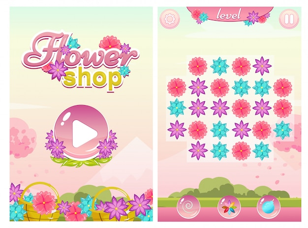 Match three flower shop game with start screen