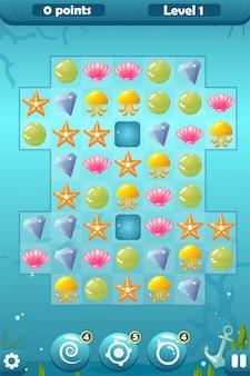 Игровой интерфейс match three для подводного мира