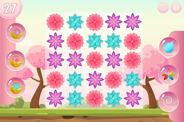 Match three game interface with flowers