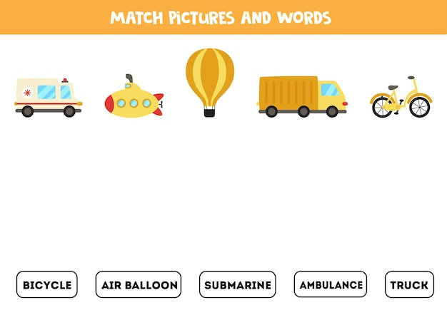 Match transportation means and the words. educational logical game for kids.