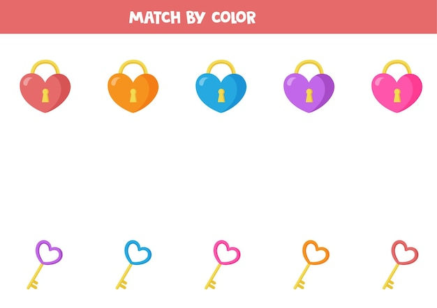 Match valentine heart locks and keys by color. educational logical game for kids.