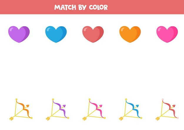 バレンタインのハートとアーチェリーの弓を色で合わせます。子供のための教育的な論理ゲーム。