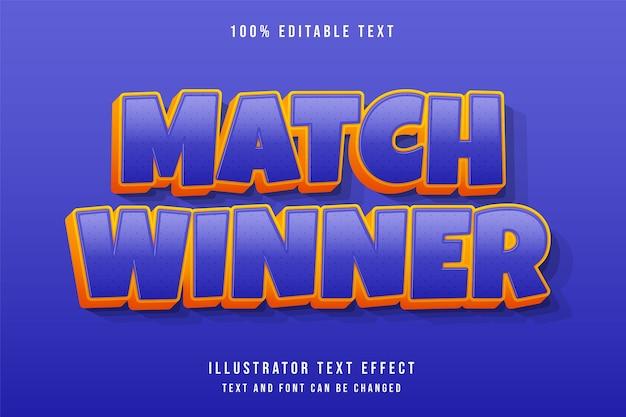 Победитель матча, редактируемый текстовый эффект 3d фиолетовый градация желтый оранжевый стиль комиксов