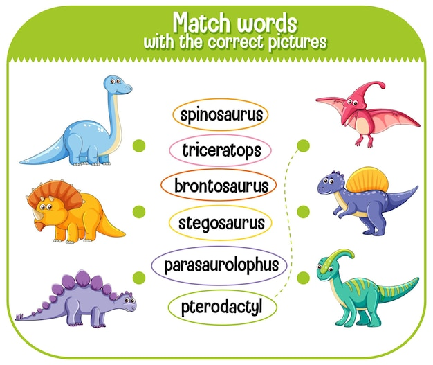 Match words with the correct pictures dinosaur