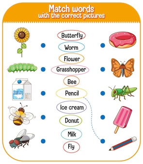 Match words with the correct pictures game for kids illustration