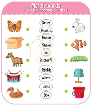 Abbina le parole con il gioco di immagini corretto per i bambini