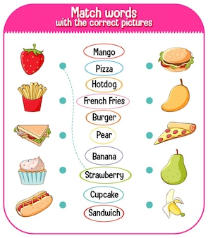 Match words with the correct pictures game for kids