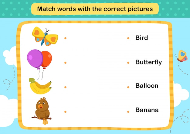Match words with the correct pictures illustration,