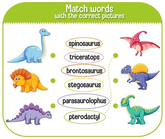 Подберите слова с правильными картинками динозавров