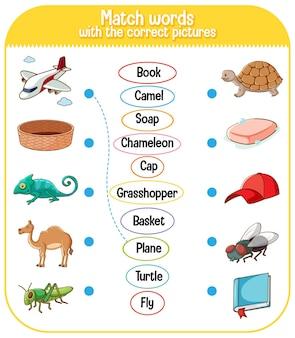 Подбирайте слова с правильной игрой с картинками для детей