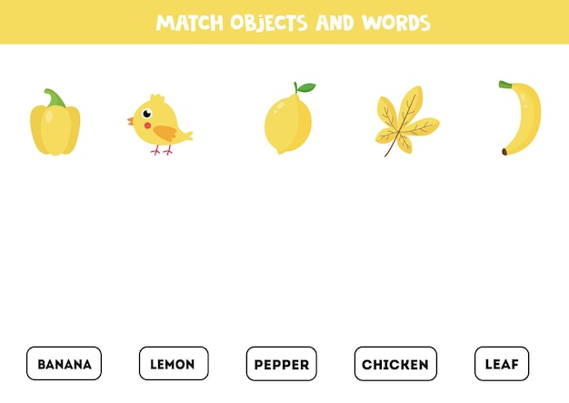 Match written words with orange colored pictures. educational spelling game for kids.