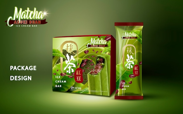 Matcha azuki bean ice bar packageillustration