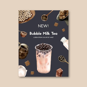 Matcha and brown sugar bubble milk tea set, poster ad, flyer template, watercolor illustration