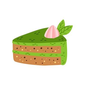 잎이 있는 말차 케이크 만화 삽화. 말차 녹차 디저트 벡터 일러스트 레이 션 흰색 배경에 고립. 아시아 일본 및 중국 행사. 로고, 포장을 위한 손으로 그린 컵케이크.