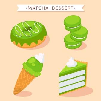 Matcha dessert collection concept
