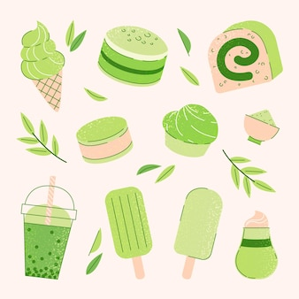Matcha dessert collection concept