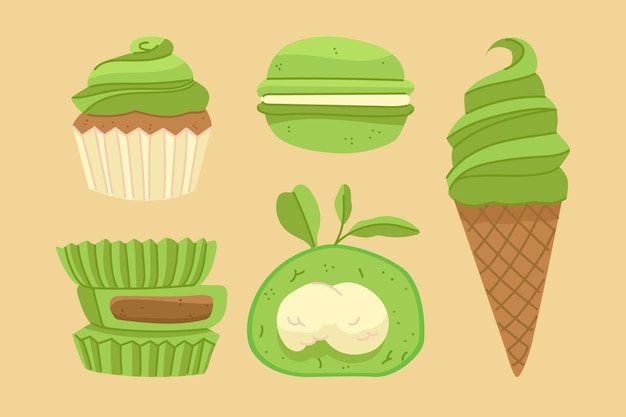 Matcha dessert collection design