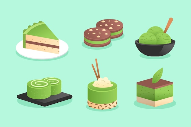 Matcha dessert collection illustration