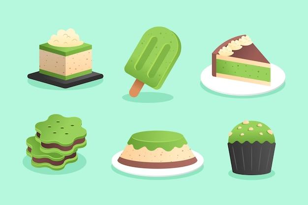 Matcha dessert set illustration
