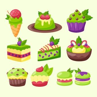 Matcha dessert set