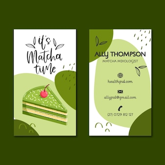 Matcha desserts double-sided business card