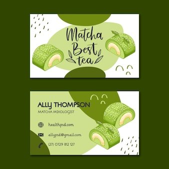 Matcha desserts horizontal business card