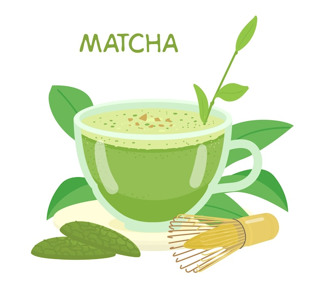 Matcha in glass cup illustration. cookies with matcha, whisk, tea leaves.